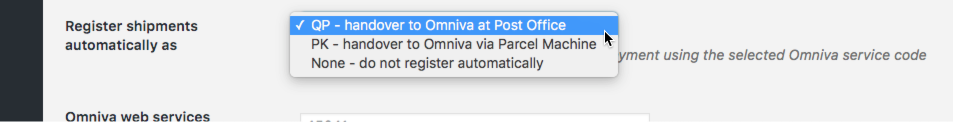 Omniva courier shipments registration options