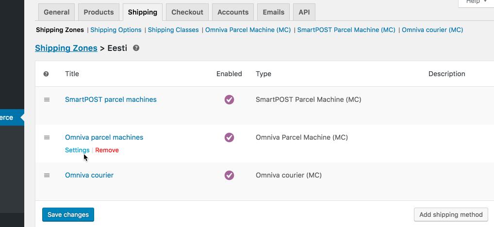 managing shipment methods