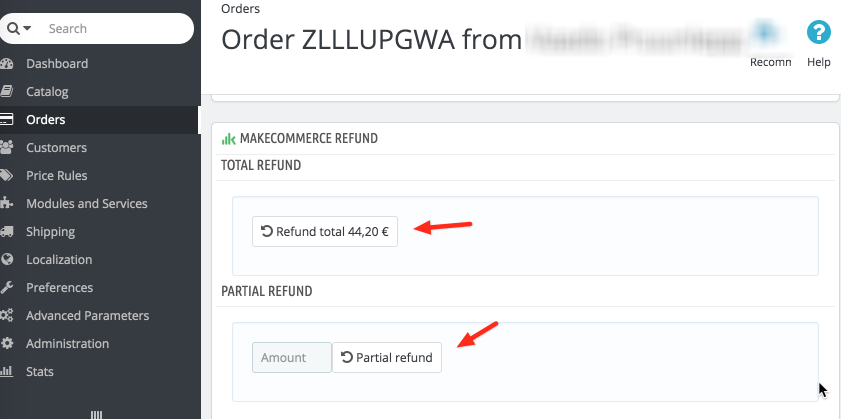 MAking refunds in MakeCommerce PrestaShop module