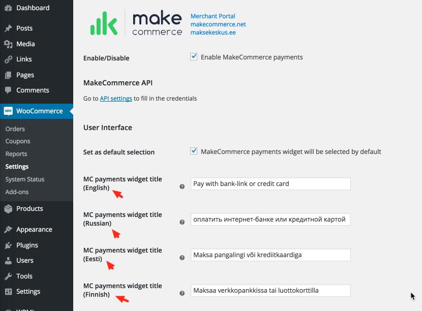 Multi-Lingual settings in MakeCommerce plugin