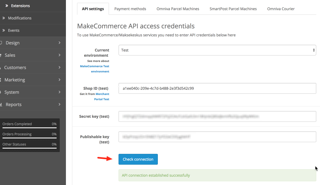 OpenCart mooduli API seaded