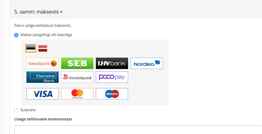 OpenCart payment method selector