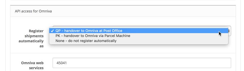 OpenCart Omniva courier settings