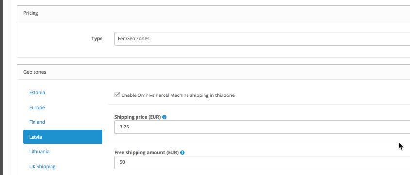 OpenCart shipping method pricing