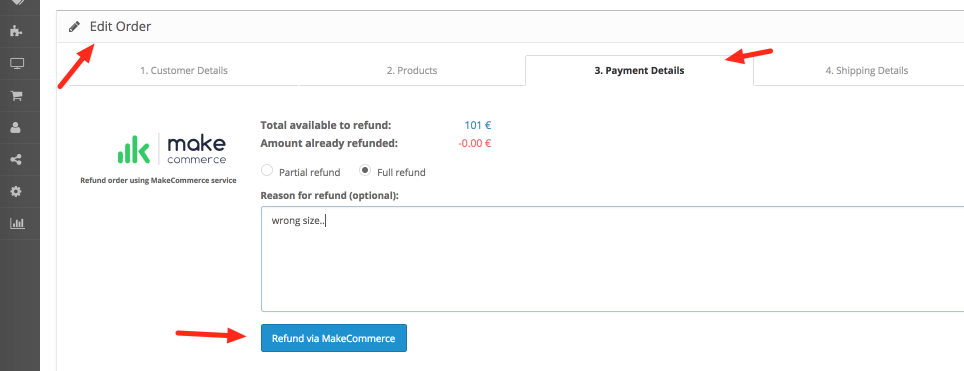 Refunds in OpenCart module