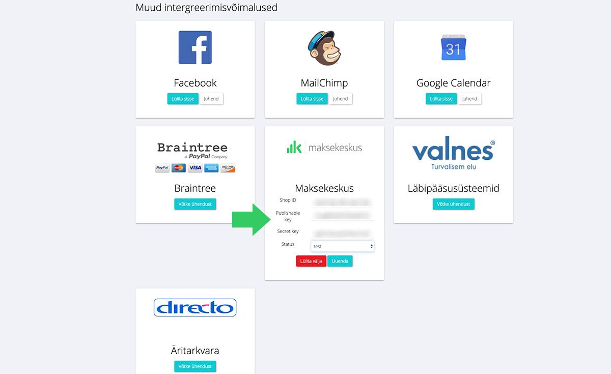 BookLux ja Maksekeskus liidestus - teine samm